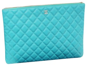 Chanel CHANEL Turquoise Leather Document Case Clutch Bag