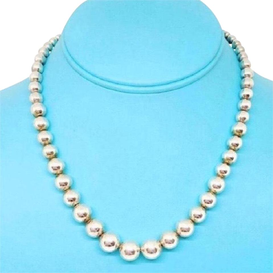 """8ba0288a3 Tiffany & Co. Graduated Bead 16"""" Sterling Silver Guaranteed Necklace ..."""