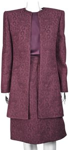 Mary McFadden 3-Piece Channel Quilted Jacquard with Silk Blouse