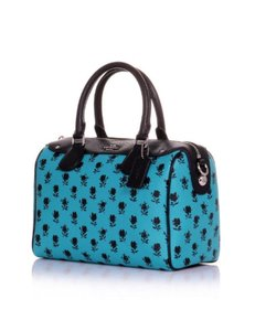 Coach Turquoise Floral Bennett Leather Satchel in Navy