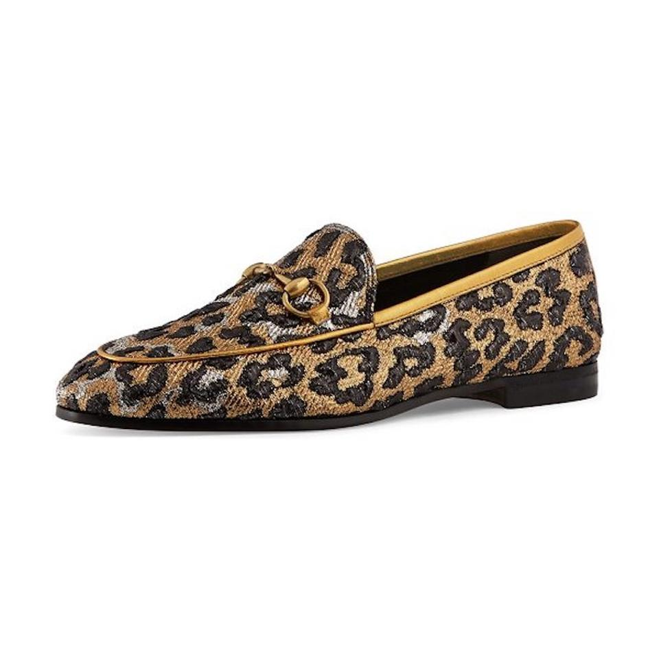 5ab48d4e509 Gucci Black New Jordaan Gold Leopard Brixton Princetown Loafer Mule Slipper  Flats