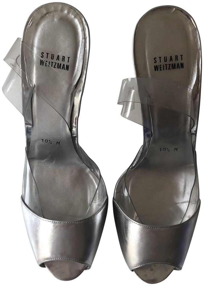 a5291d2971a4 Stuart Weitzman Wedge Silver and Clear Lucite and PVC Sandals Image 0 ...