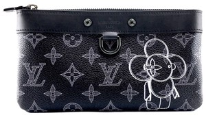Louis Vuitton Monogram Black with Vivienne Front and back logo with black and green hardware Clutch