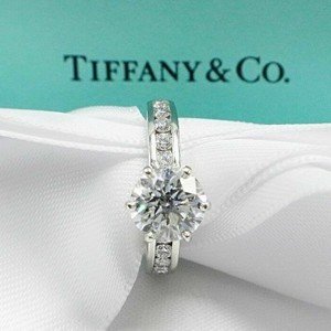 Tiffany & Co. F Vvs1 Round Brilliant Diamond 2.01 Tcw with Diamond Band Engagement Ring