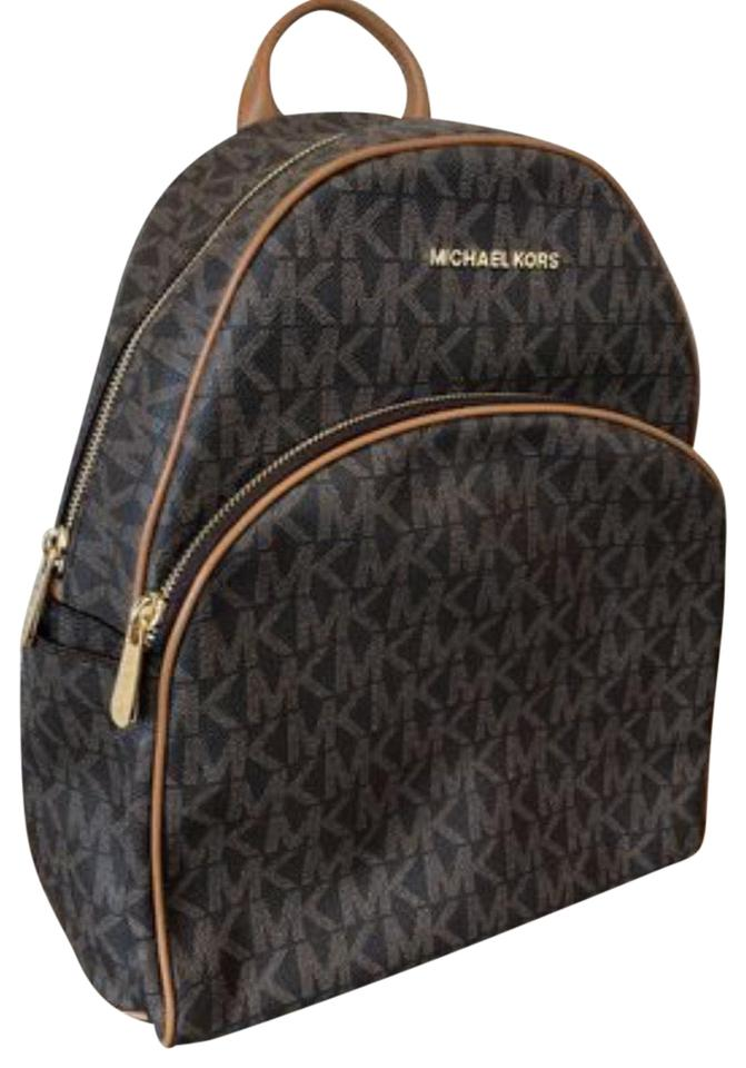 82c10c0b8 Michael Kors Abbey Large Brown Canvas Leather Backpack - Tradesy
