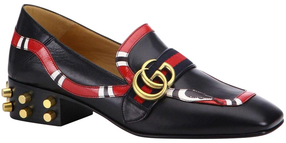 65fae1ace2bb Gucci Black Marmont Peyton Yoko Red Snake Leather Gg Gold Loafer Mule Heel  Pump Flats. Size  EU 37.5 (Approx. US 7.5) Regular (M ...