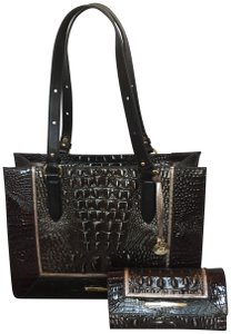 Brahmin Tote in brown, grey, metallic