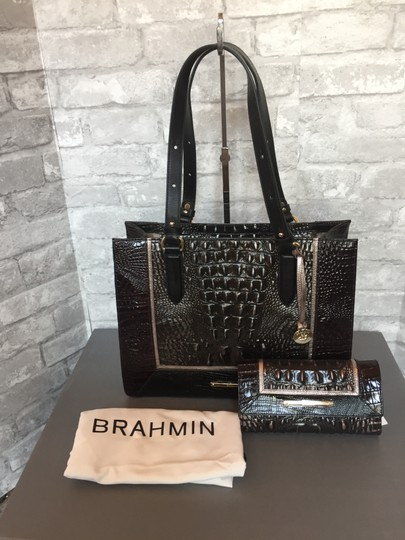 Brahmin Tote in brown, grey, metallic Image 1