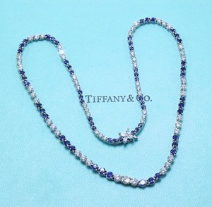 Tiffany & Co. Platinum Victoria Round Brilliant Diamonds Sapphires 11.68 Tcw Necklace