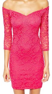 pink small lace long sleeve mini club dress Dress