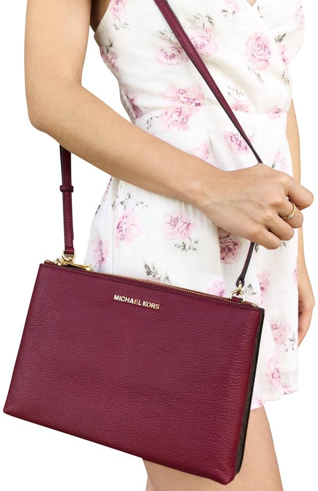 05be35c5f3af Michael Kors Jet Set Travel Double Gusset Mk Mulberry Leather Cross ...