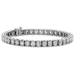 Madina Jewelry White 3.00 Ct Ladies Round Cut Diamond Tennis 14 Kt Gold Bracelet
