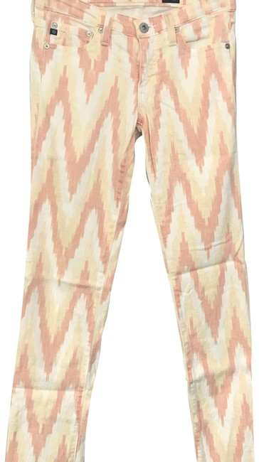 Item - Peach Light Wash Chevron Pattern Skinny Jeans Size 0 (XS, 25)