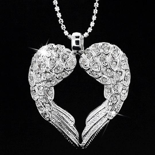New Angel Wing Heart Bridal Jewelry Accessory Bridesmaid Gift Necklace Pendant Beaded Chain
