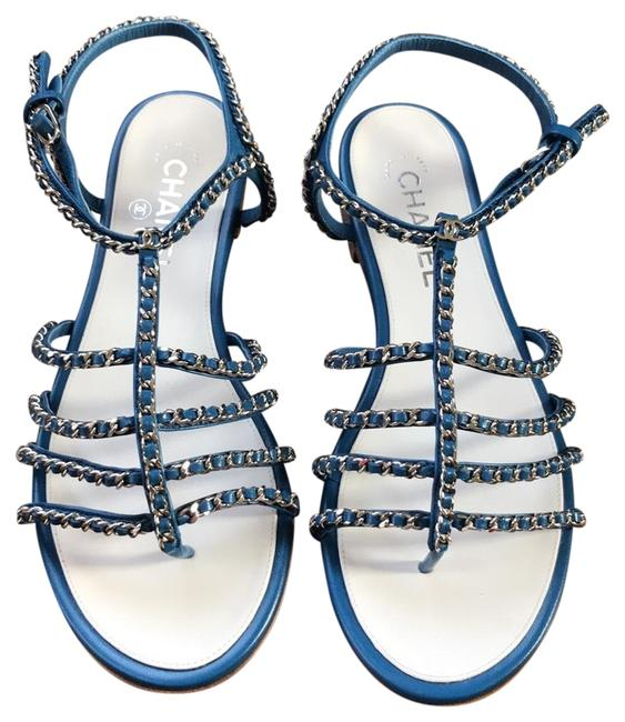 Item - Blue Leather Silver Chain Sandals Flats Size EU 40 (Approx. US 10) Regular (M, B)