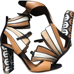 Malone Souliers Leather Embroidered Italian Chunky Brown Sandals