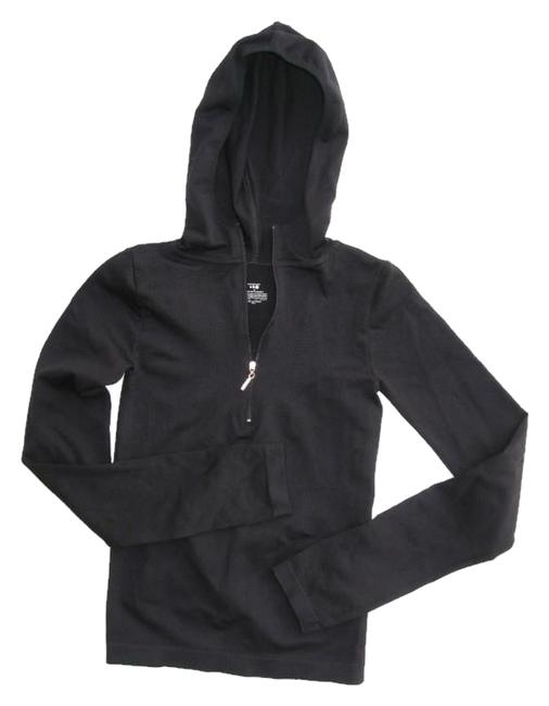 Item - Black Fitted Hooded Active Activewear Top Size 4 (S)