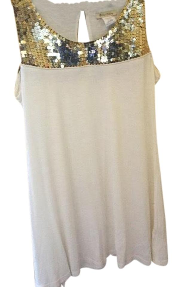 One Clothing White and Gold Pretty Sequin Short Cocktail Dress Size ... aada84afee32