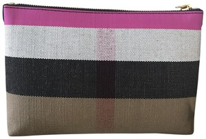 Burberry Pink/ Black/ white Clutch