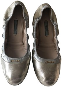 Prada Silver and Gold Women s Bicolor Metallic Leather Ballet Flats ... bcfa05bbf3