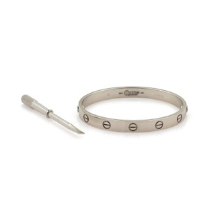 Cartier Love 18k White Gold Motif Bangle Size 16 Driver Cert
