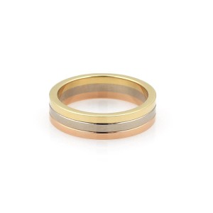 Cartier 18k Tricolor Gold 4.5mm Triple Stack Band Ring Size 52-US 6 Cert.