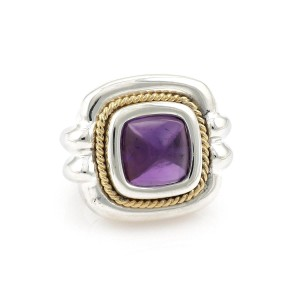 Tiffany & Co. Amethyst Sterling 18k Yellow Gold Square Top Ring Size 7.5