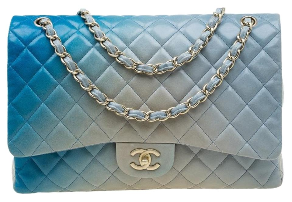 8dab677c452079 Chanel Classic Flap Ombre Quilted Leather Maxi Classic Single Blue ...