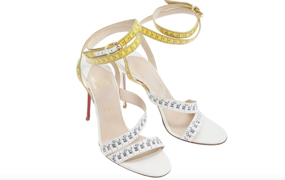 3eac979ccb3 Christian Louboutin White Yellow Police New 39/9 Sandals Size EU 39  (Approx. US 9) Regular (M, B)