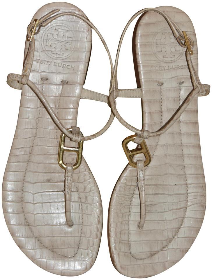 d20ab98401b7 Tory Burch Beige Croc Print Carrick Thong Sandals Size US 6 Regular ...