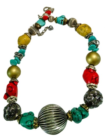 Preload https://img-static.tradesy.com/item/2392216/silver-turquoise-red-yellow-turquoiseadjustable-large-charm-necklace-0-0-540-540.jpg
