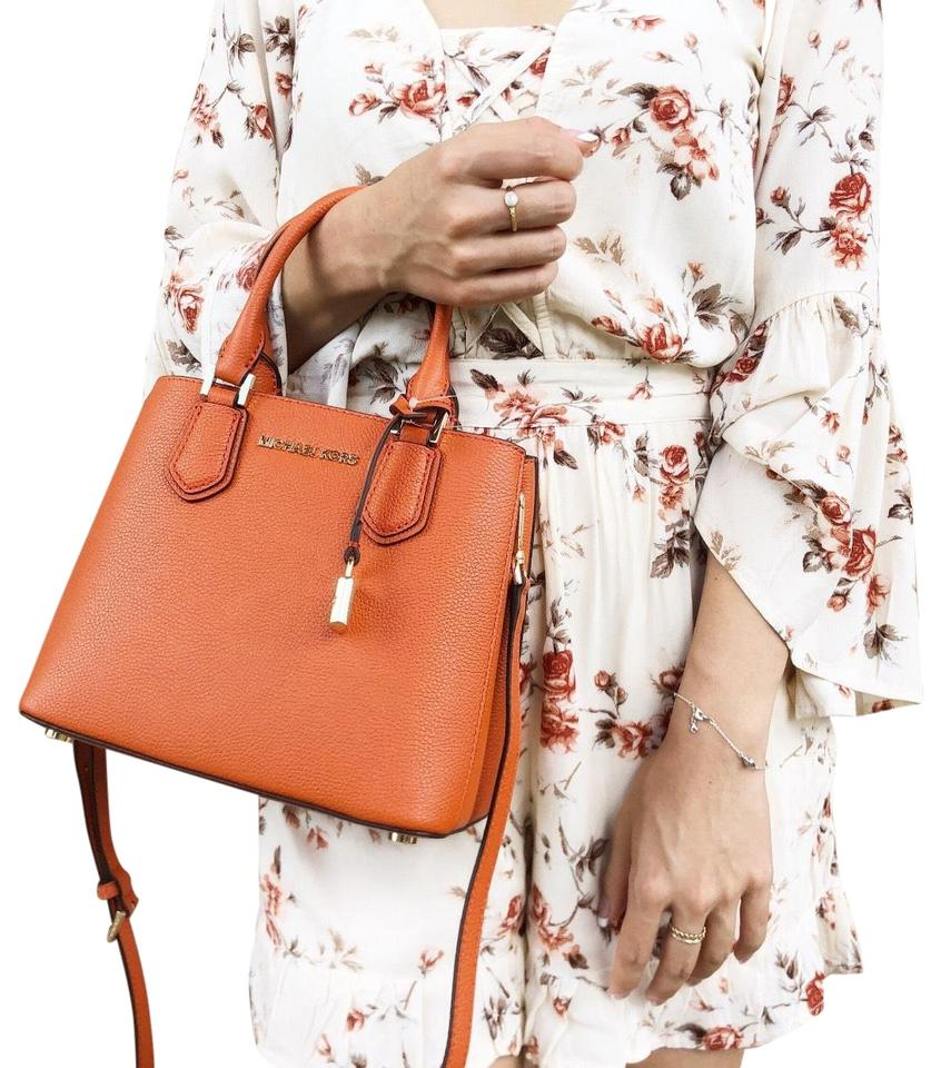 7a9f66eb2d07 Michael Kors Adele Messenger Crossbody Satchel in Persimmon Orange Dark  Khaki Image 0 ...