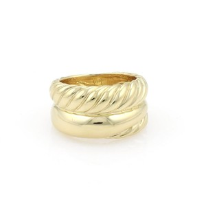 David Yurman 18k Yellow Gold 11.5mm Wide Cable Double Stack Dome Band Ring