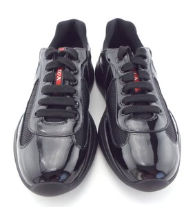 Prada Black Patent Leather Patchwork Low Top Men's Trainer Sneaker Uk6/Us7 Shoes