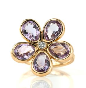 Tiffany & Co. Garden Amethysts and Diamond Flower Gold Ring