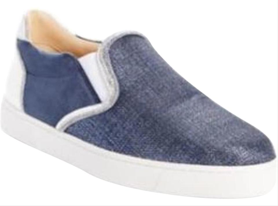 save off b5113 416f3 Christian Louboutin Blue Silver White Masteralta Denim Slip On Loafers  Sneakers Boat Flats Size EU 37 (Approx. US 7) Regular (M, B) 24% off retail