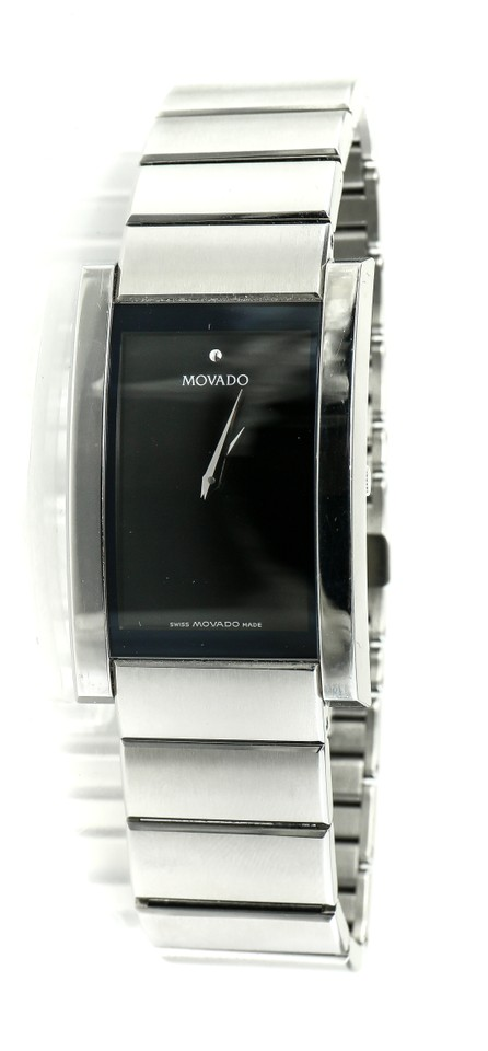 Movado Stainless Steel 84 G4 1450 Museum Rectangular Watch