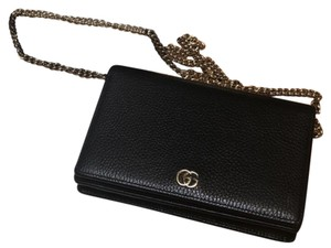 25559ebfbd8f Added to Shopping Bag. Gucci Marmont Clutch Leather Woc Cross Body Bag. Gucci  Marmont Mini Chain Black ...