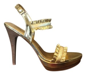 Anne Michelle Metallic Gold Platforms