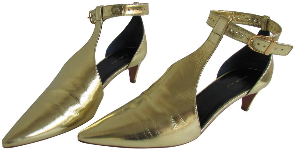 d3cc081aea6f Céline Laminated Gold Kitten Heels Salome Mary Jane Pumps. Size  EU 37 ( Approx.