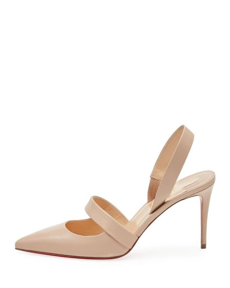 wholesale dealer 09a6f 8976f Christian Louboutin Nude Actina 85 Leather Slingback Sling Pumps Sandals  Size EU 39 (Approx. US 9) Regular (M, B) 19% off retail