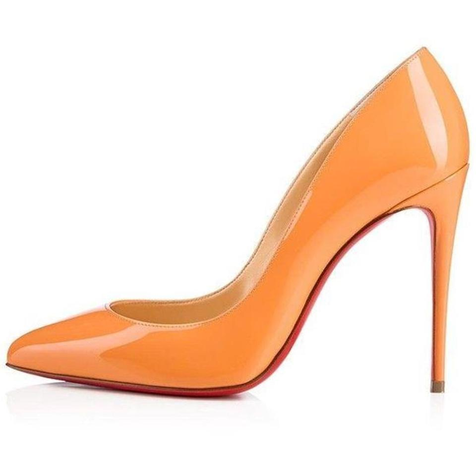 1b38174c12e9 Christian Louboutin Stiletto Pigalle Follies Patent Leather Heels Sunset Orange  Pumps Image 0 ...