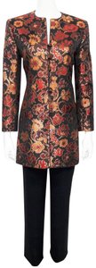 Mary McFadden Brocade Jacket w/ Frog Fasteners / Solid Pant - Pant Suit