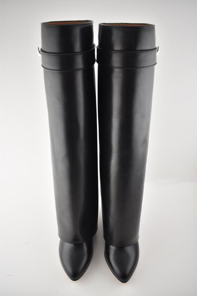 0d6749e0c21eb Givenchy Black Leather Shark Tooth Lock Pant Foldover Wedge Heel ...