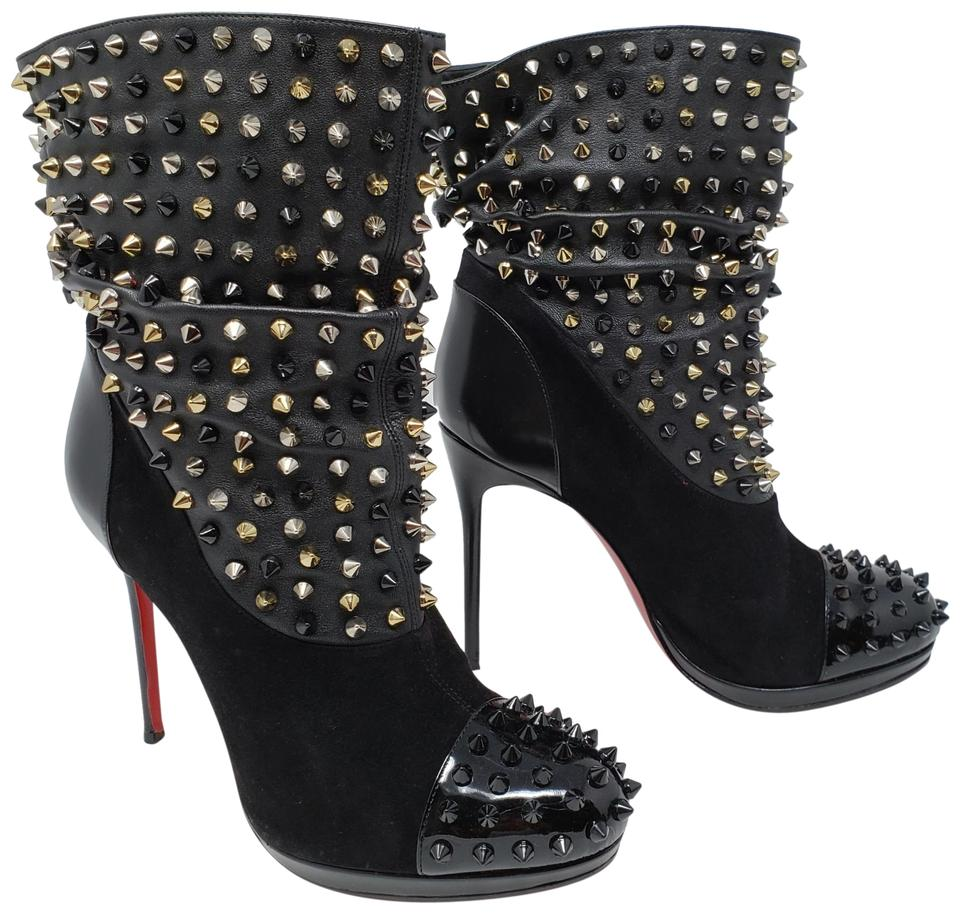 ebfb0df1d87 Christian Louboutin Black Leather Wars Round-toe Ankle Boots Booties ...