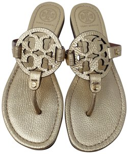 Tory Burch Miller Reva Logo Hardware Metallic Gold Sandals