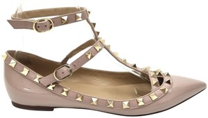 Valentino Leather Cage Gold Rockstuds Made In Italy Nude Flats