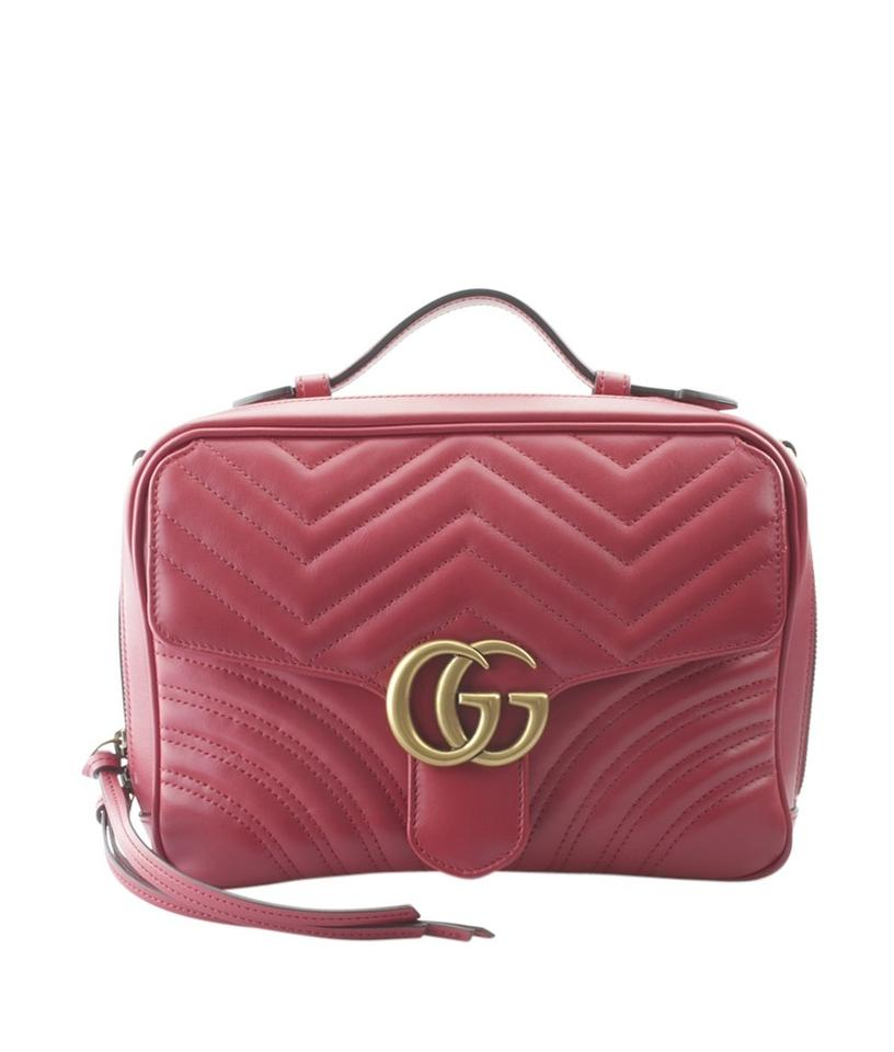 875601e05541 Gucci Marmont 2-way Satchel (155931) Red Leather Cross Body Bag ...