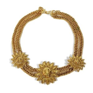 Chanel Vintage Gold Plated Triple Lion Head Double Chain Choker
