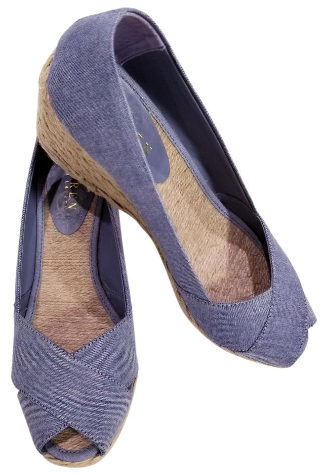 a3ea3830083 Ralph Lauren Heel Jute Braided Jean Canvas Blue Wedges Image 0 ...